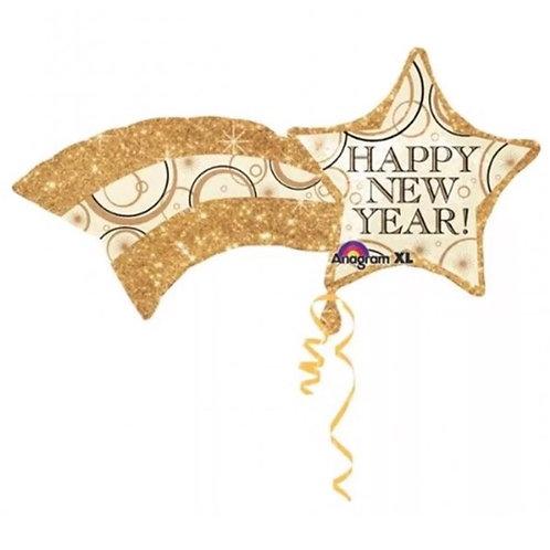 Happy New Year Shooting Gold Star Balloon