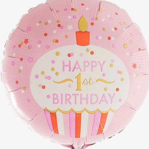 "First Birthday Pink Cupcake 18"" Mylar"