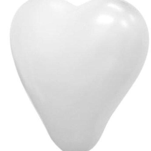 "12"" White Heart Latex Balloon"