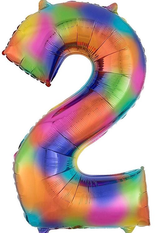 34in Rainbow Splash Number Balloon (2)