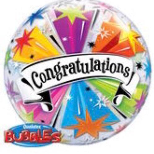 "22"" Congratulations Banner Plastic Bubble Balloon  076"