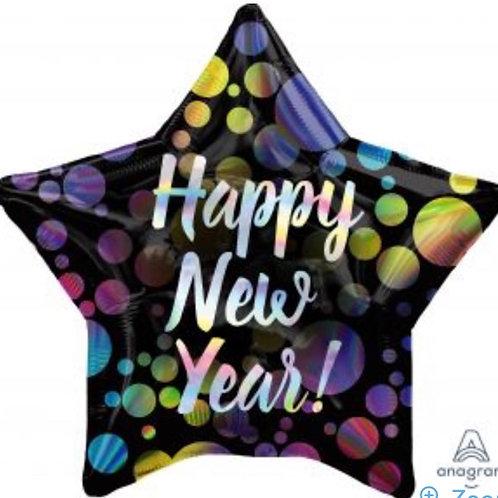 "Iridescent New Year Bubbles Star 18"" Mylar"