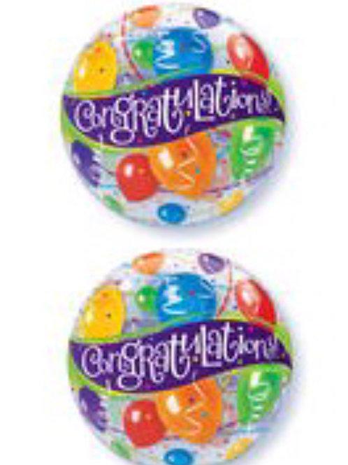 """22"""" Congratulations Plastic Bubble Balloon 071"""