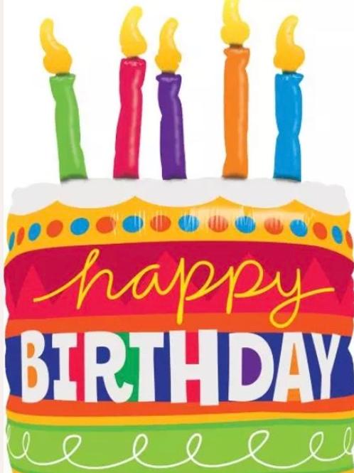 """Happy Birthday Cake Candles 35"""" Mylar (272)"""