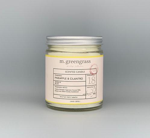 pineapple + cilantro blossom | 8 oz glass candle