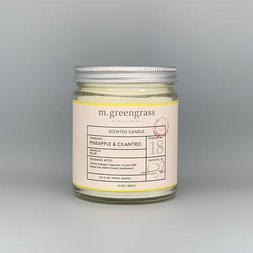 pineapple + cilantro blossom 8 oz glass candle