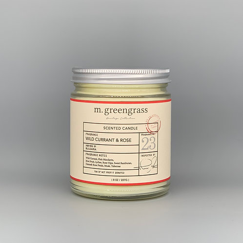 wild currant + rose  8 oz Candle