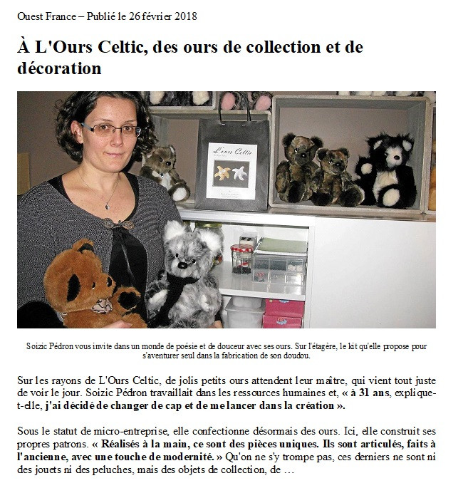 L'ours Celtic - Ouest France 2018
