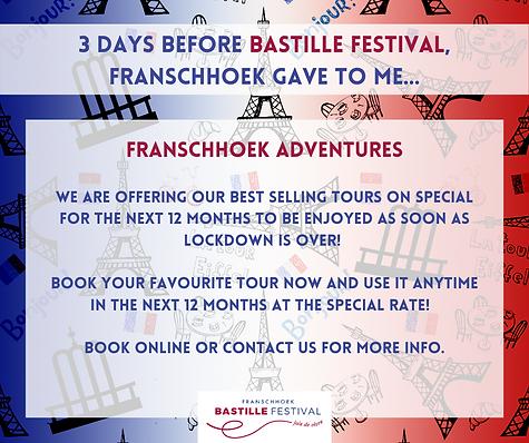 Bastille Voucher Franschhoek Adventures.