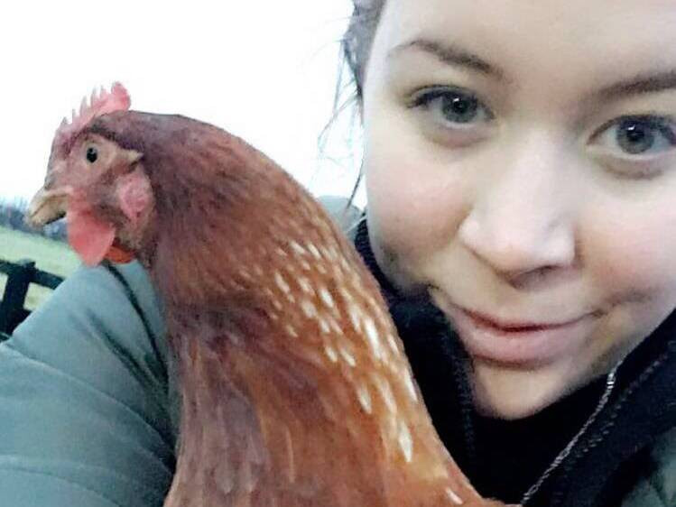 Vegan, Catherine, with a rescued hen
