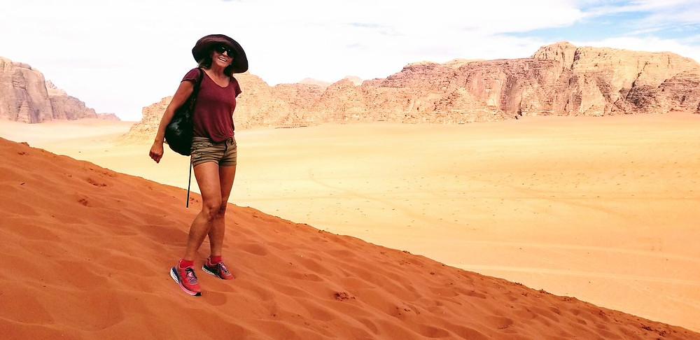 Masha in Wadi Rum doing a running race