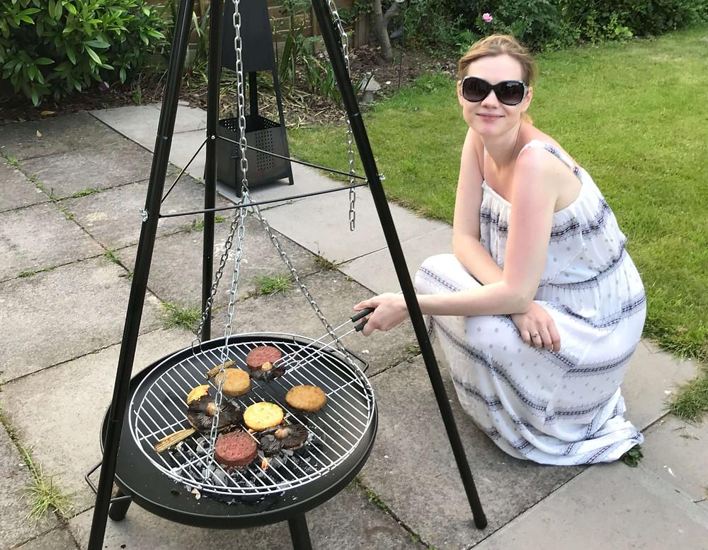Katy doing a vegan summer BBQ