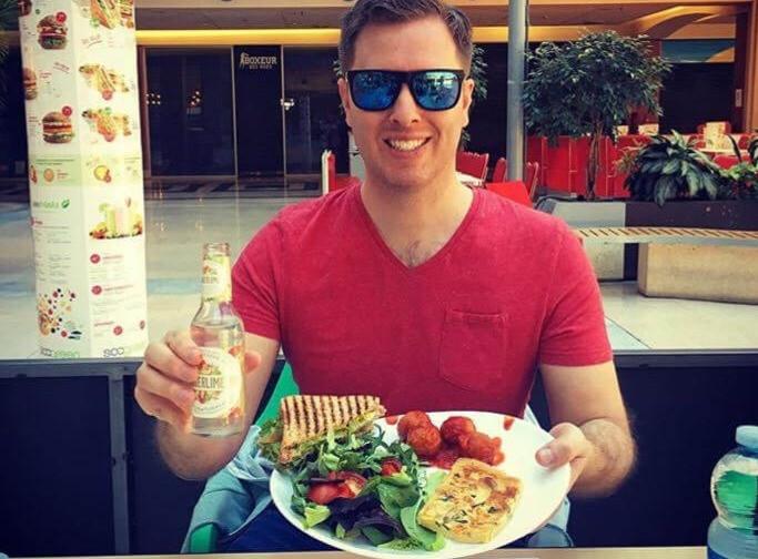 Simon eating a meal