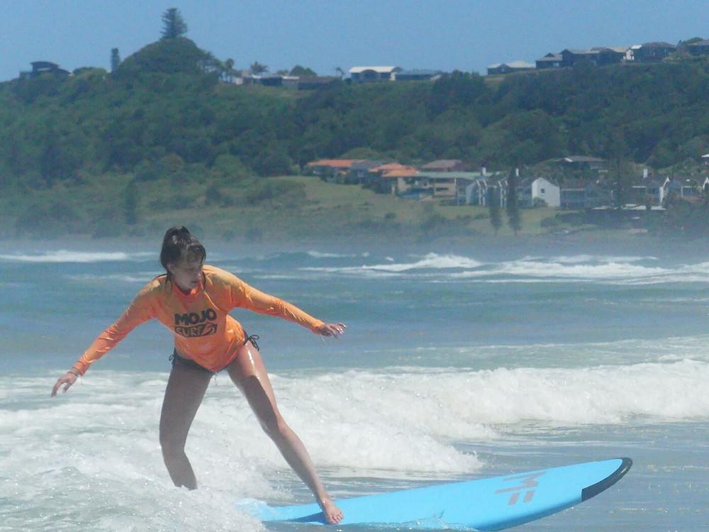Maja surfing in Austrailia