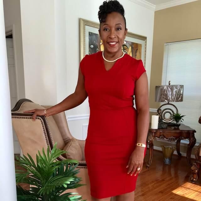 Brenda in red dress