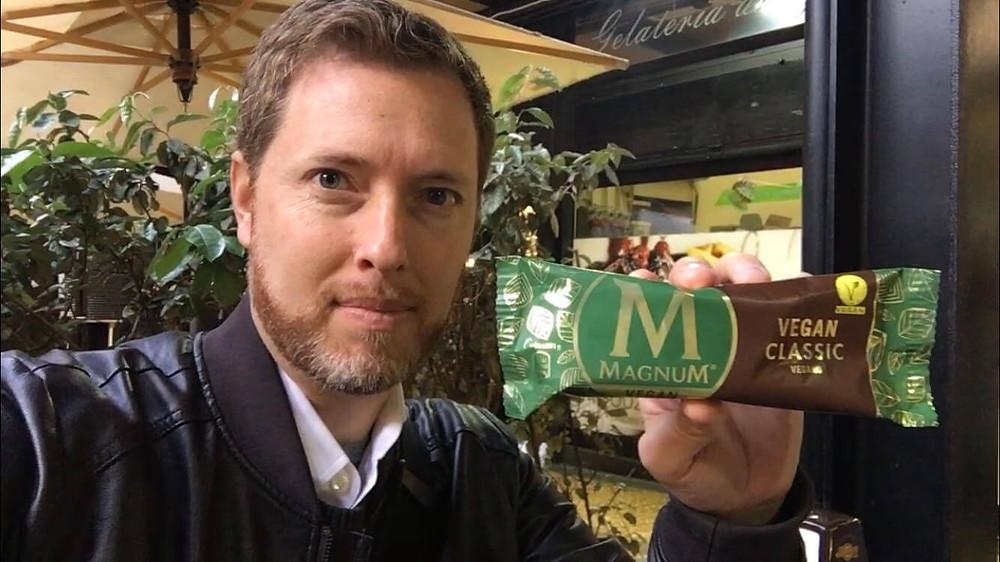 Simon with vegan magnum