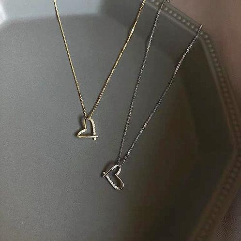 18k guld pläterad hjärta halsband
