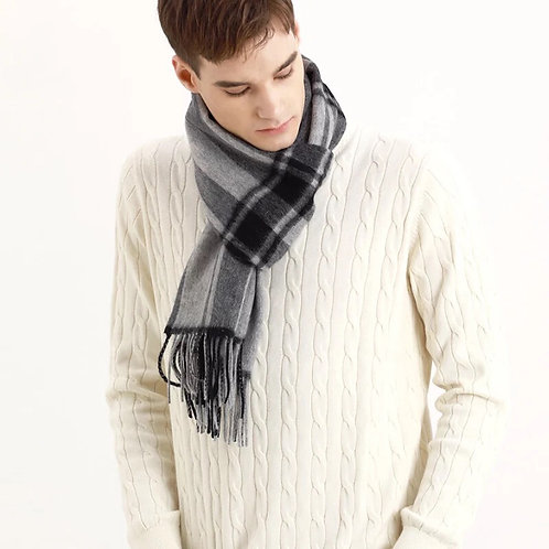 Checked cashmere scarf for men