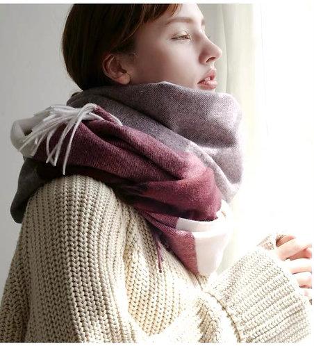 Checked Big-size Wool Shawl