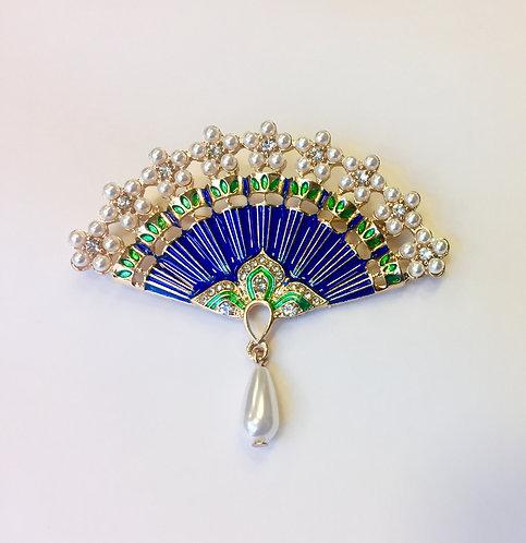 Oriental Blue Fan Brooch