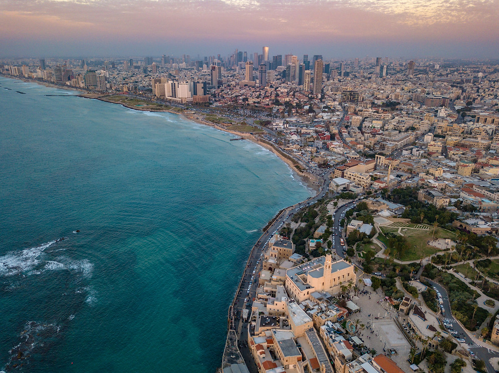 Bird's view to the north, of the coastline of Tel Aviv and Jaffa.