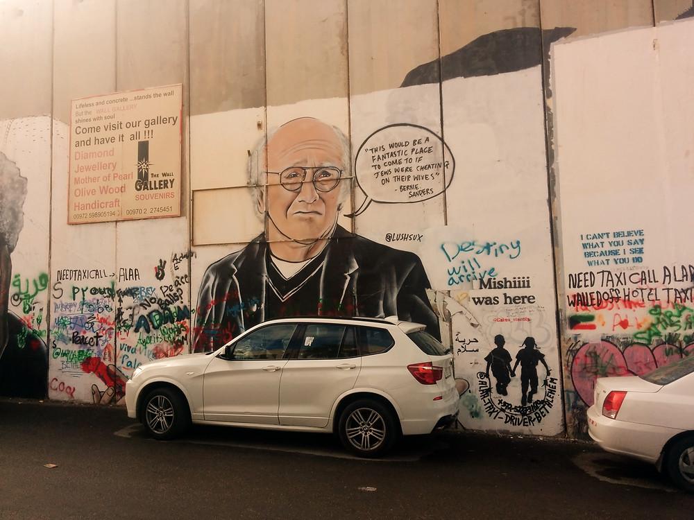 Barney Sanders Graffiti on the division wall of Beth Lehem.