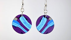 Purple Transparent Round Earrings