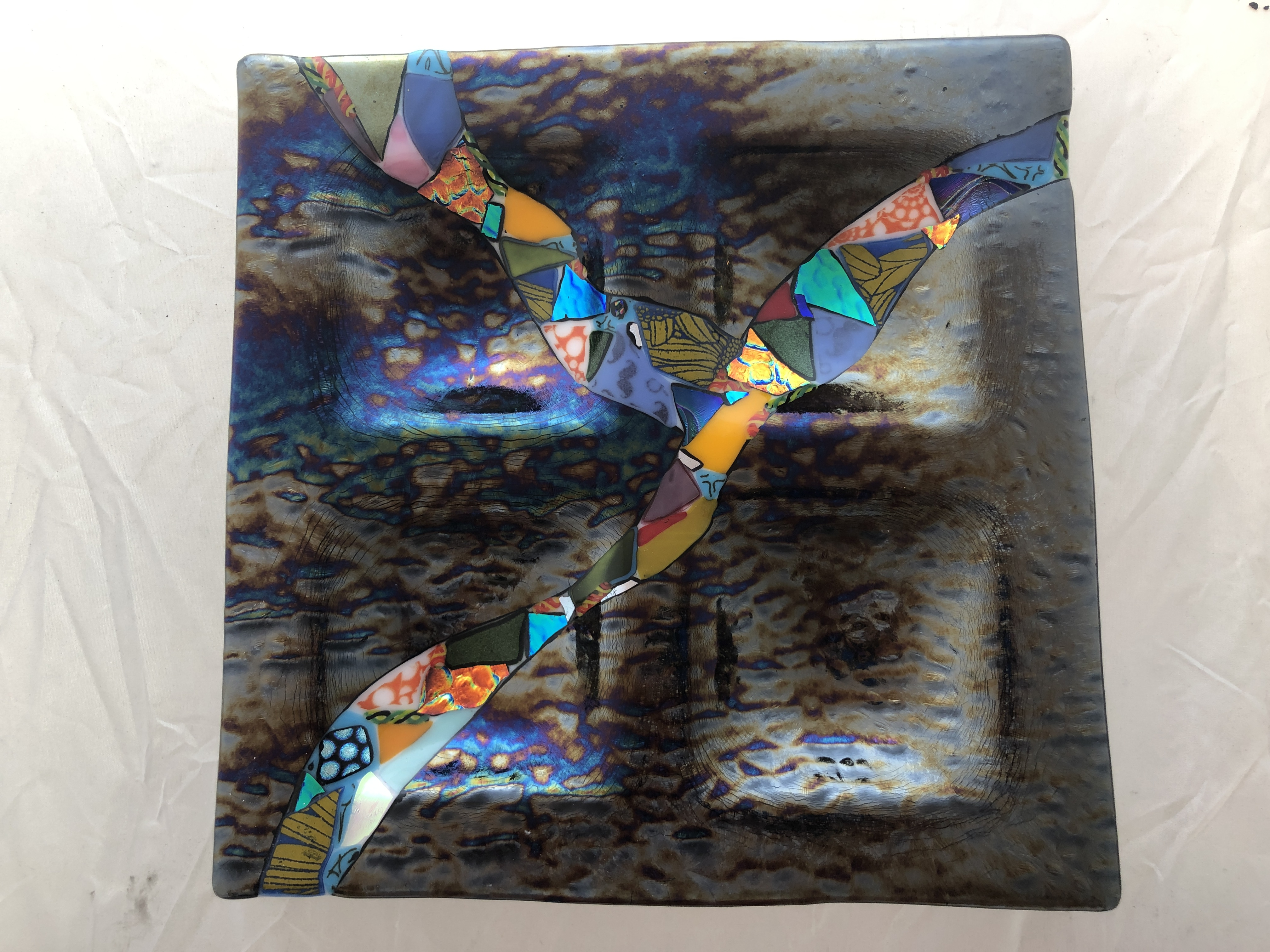 Four Section Dichroic Gray Platter