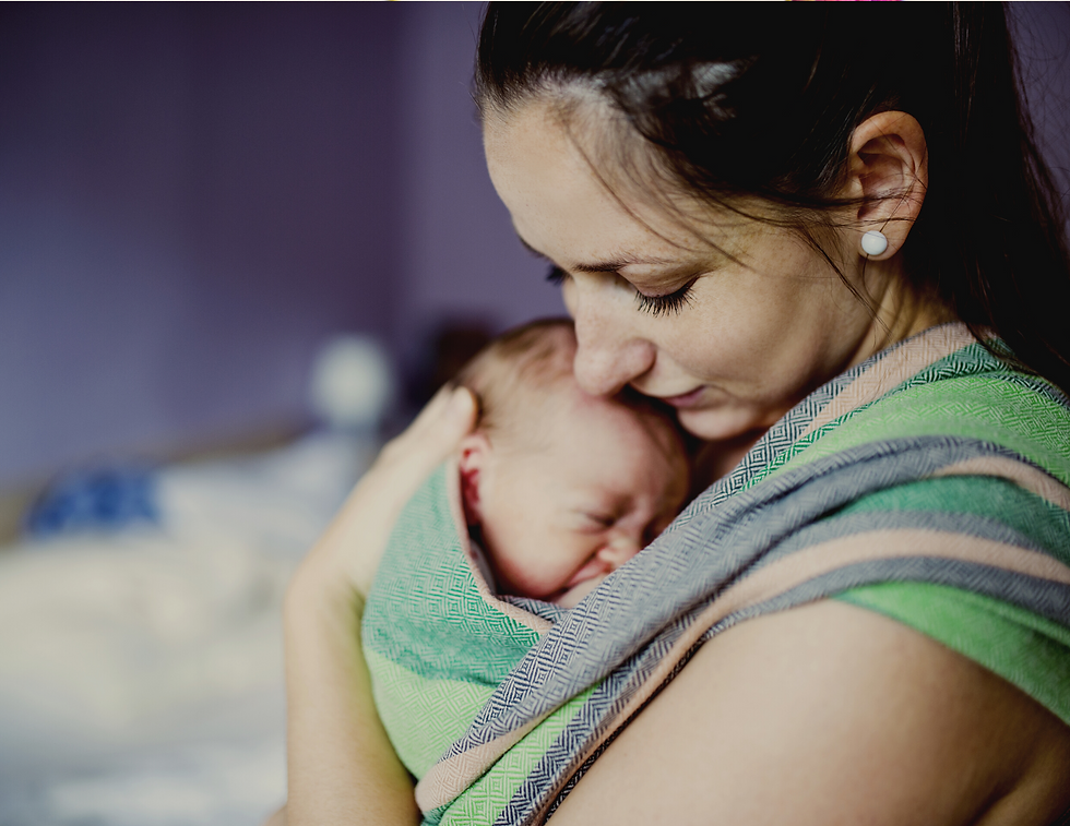 Babywearing mother postpartum support in