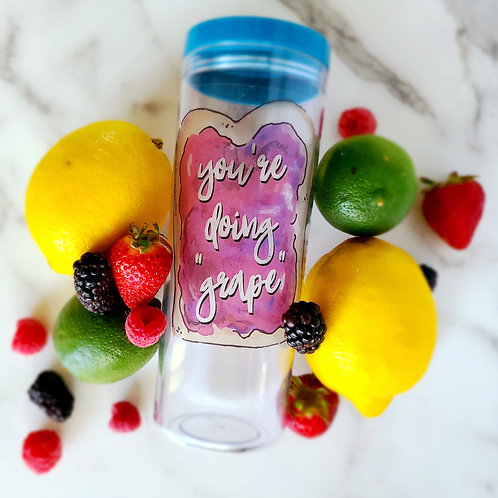 Straw Cup Tumbler w/Fruit Infuser & Hydration Tracker