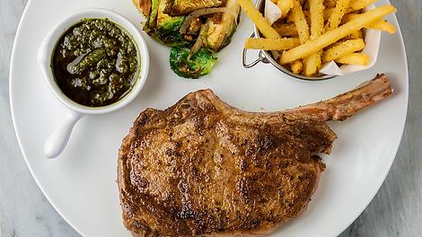 Bone-In Rib Eye Steak, Fries, Brussel Sprouts, Chimichurri Sauce