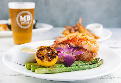 Lobster Tail, Grilled Asparagus, Charred Lemon, Drawn Butter, MB Grille Beer