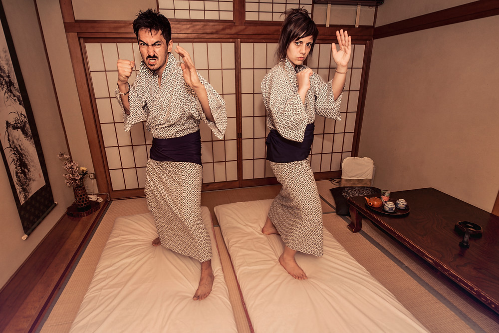 Wannabe Samurai-warriors before they sleep (in a ryokan) - ©BrianDecrop