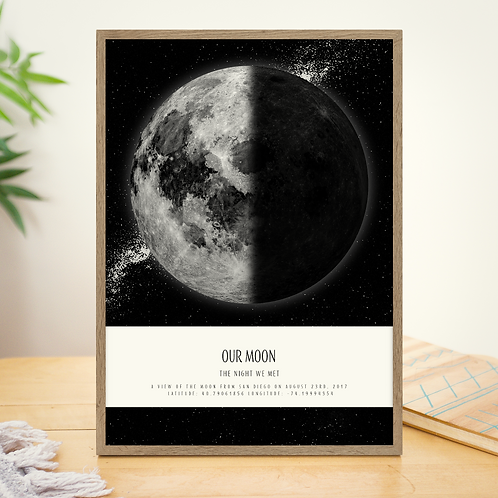 Moon Phase Poster with Galaxy & Text Ribbon