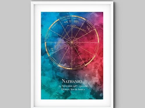 Deep Sky Watercolour Birth Chart