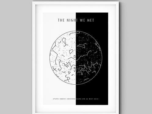 Duo Black & White Star Map