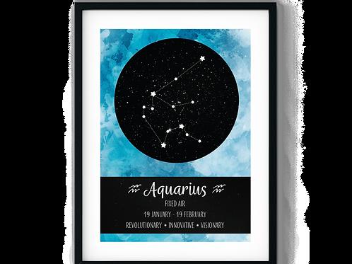 Aquarius Sky Blue Zodiac Poster