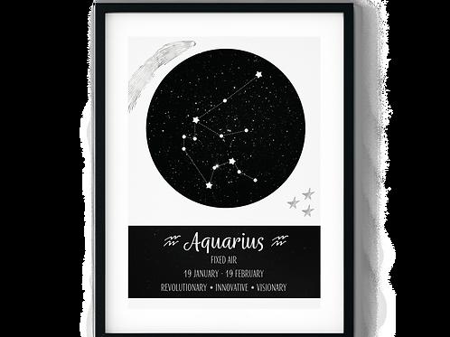 Aquarius Black Zodiac Poster