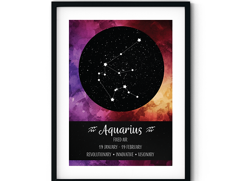 Aquarius Sunrise Zodiac Poster