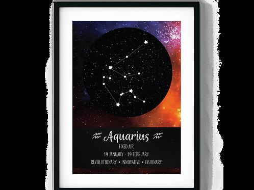 Aquarius Galaxy Zodiac Poster