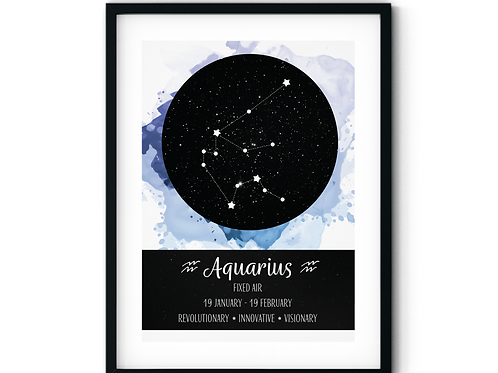 Aquarius Ocean Splash Zodiac Poster