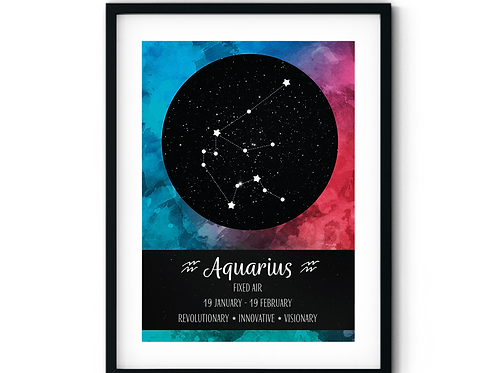 Aquarius Deep Sky Zodiac Poster