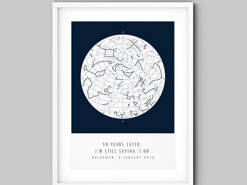 Navy Blue & White Square Star Map