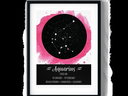 Aquarius Pink Zodiac Poster