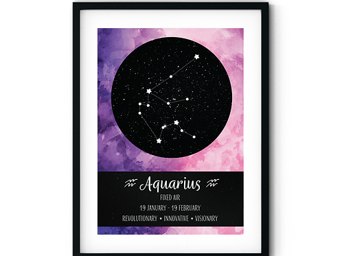 Aquarius Pink Watercolour Zodiac Poster
