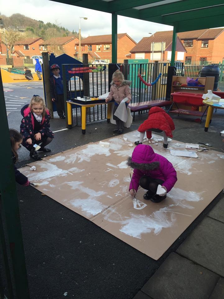 Reception outdoor play - penguins Jan 2017