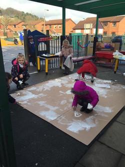 Reception outdoor play - penguins Jan 2017