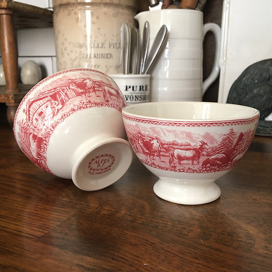Set of 2 vintage white ironstone cafe au lait bowls with red transfer