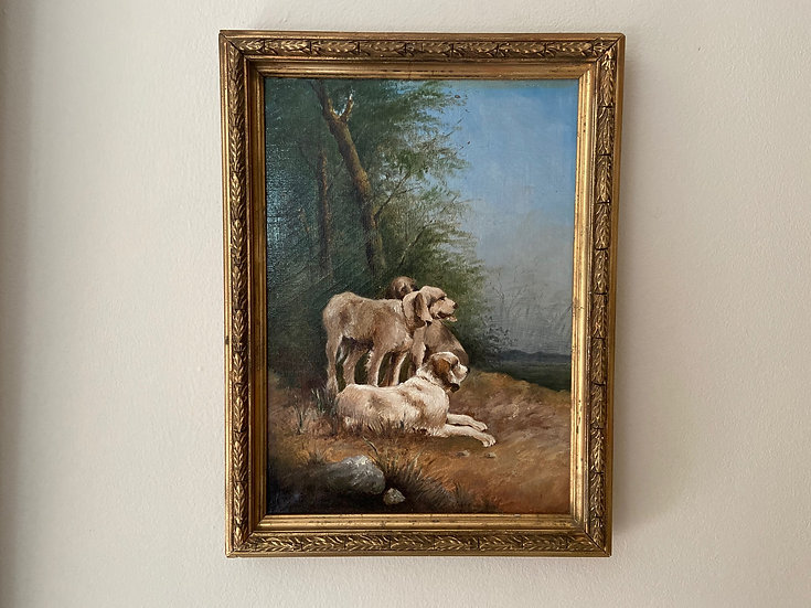 Antique French oil painting of Spinone Italiano dogs