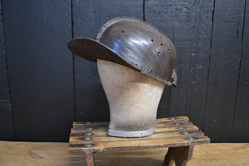 Antique peaked leather miners cap